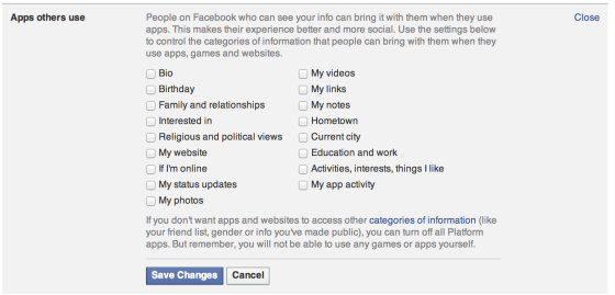 Facebook App Sharing Settings for Friends